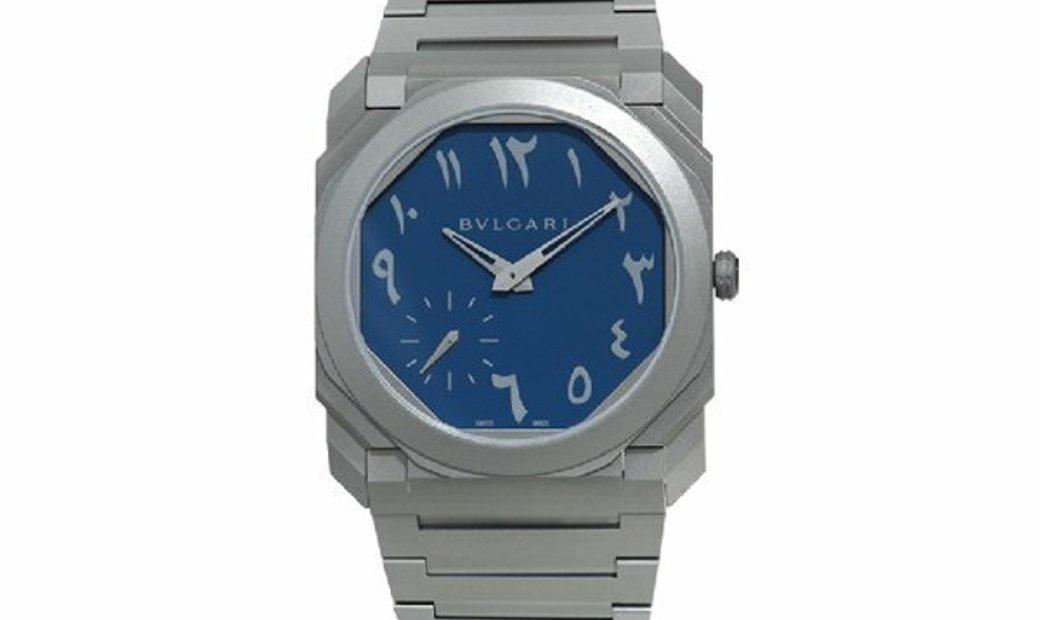 BVLGARI OCTO FINISSIMO AUTOMATIC BLUE ARABIC NUMERALS TITANIUM 103301 BGO40TXT
