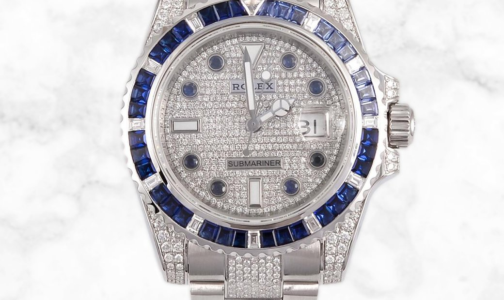 Rolex Submariner Date 116610LN Bespoke Oystersteel Set with Diamonds and Blue Sapphires