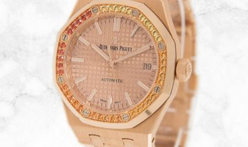 Audemars Piguet Royal Oak 15451OR.YY.1256OR.01 in Pink Gold with Orange Sapphire Bezel