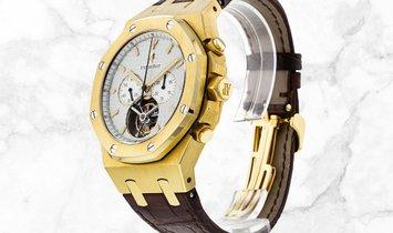 Audemars Piguet Royal Oak 25977BA.OO.D088CR.01 Yellow Gold Silver Toned Dial Brown Alligator Strap