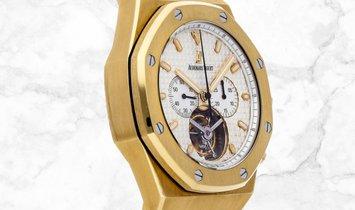 Audemars Piguet Royal Oak Tourbillon Chronograph 25977BA.OO.1205BA.02 Yellow Gold Silver Toned Dial