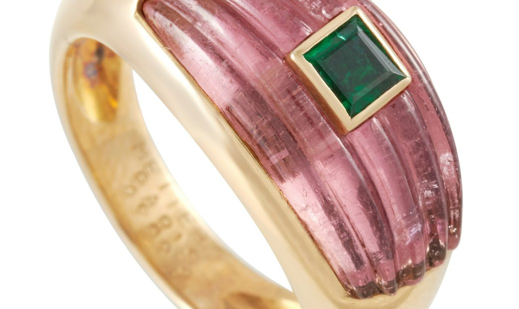 Mellero Mellero 18K Yellow Gold Tourmaline and Emerald Ring