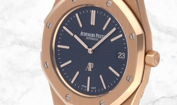 "Audemars Piguet 15202OR.OO.1240OR.01 Royal Oak ""Jumbo"" Extra-Thin 18K Rose Gold Blue Dial"