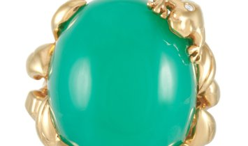 Dior Dior Gourmande Grenouille 18K Yellow Gold 0.04 ct Diamond and Chrysoprase Ring