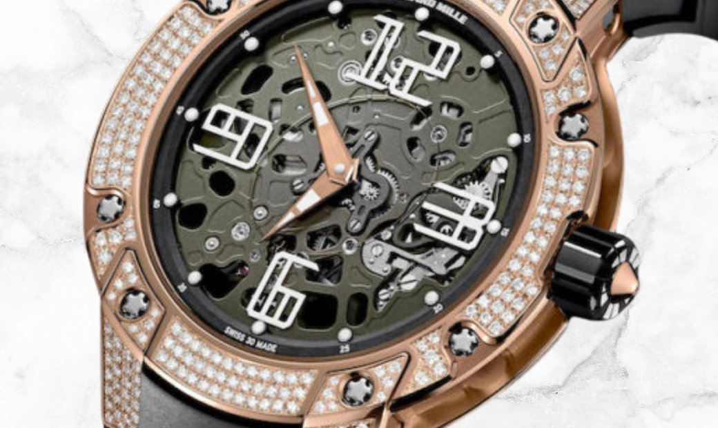 Richard Mille RM 033 Extra Flat Round Red Gold Diamond Set Arabic Numerals