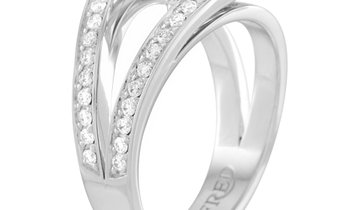 Fred of Paris Fred of Paris Lovelight Platinum 1.55 ct Pear and Round Diamond Ring (F color, VS1 cla
