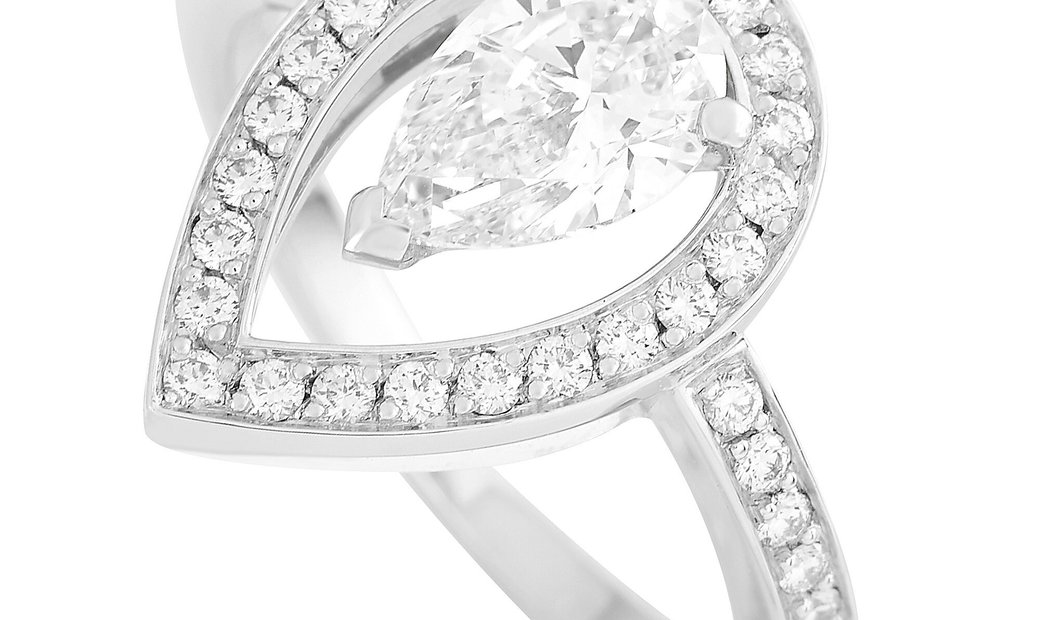 Fred of Paris Fred of Paris Lovelight Platinum 1.46 ct Pear and Round Diamond Ring (E color, VVS2 cl