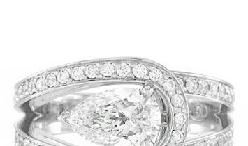 Fred of Paris Fred of Paris Lovelight Platinum 1.58 ct Pear and Round Diamond Ring (G color, VS1 cla