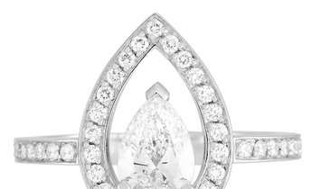 Fred of Paris Fred of Paris Lovelight Platinum 1.46 ct Pear and Round Diamond Ring (E color, VVS1 cl
