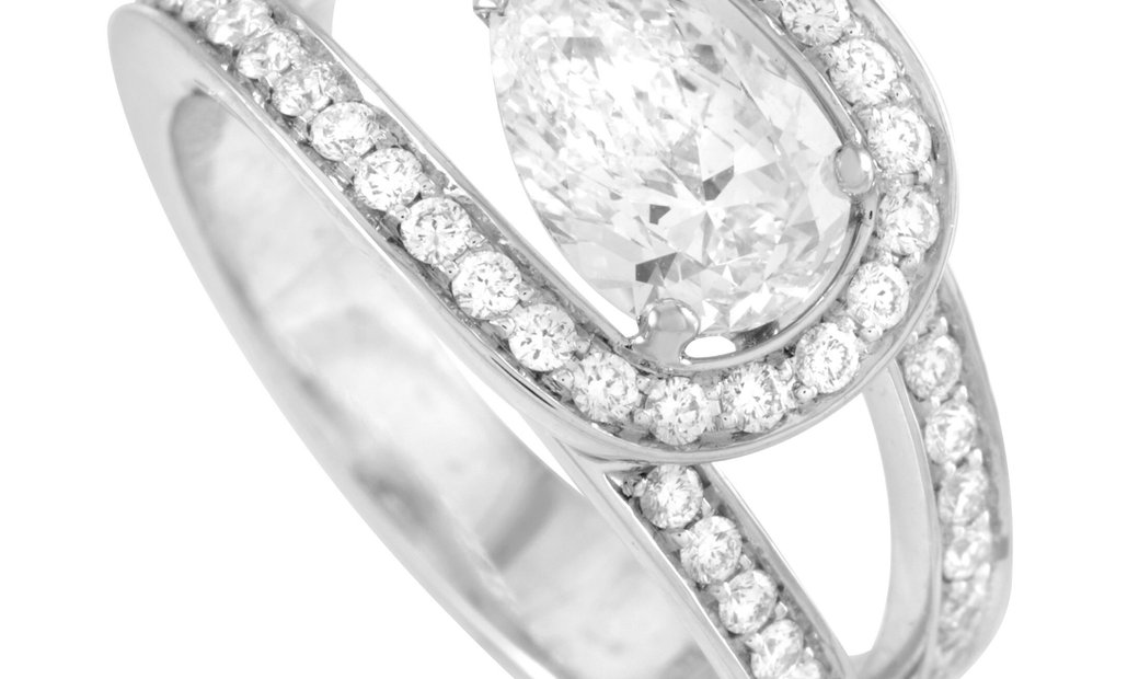 Fred of Paris Fred of Paris Lovelight Platinum 1.58 ct Pear and Round Diamond Ring (F color, VVS1 cl