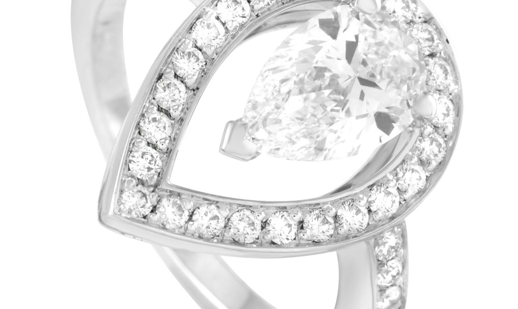 Fred of Paris Fred of Paris Lovelight Platinum 1.46 ct Pear and Round Diamond Ring (F color, VVS2 cl
