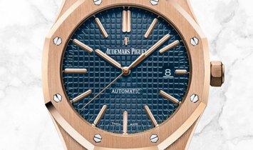 Audemars Piguet 15400OR.OO.1220OR.03 Royal Oak 18K Rose Gold Blue Dial