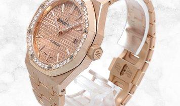 Audemars Piguet 15451OR.ZZ.1256OR.03 Royal Oak 18K Rose Gold Pink Toned Dial Diamond Set Bezel