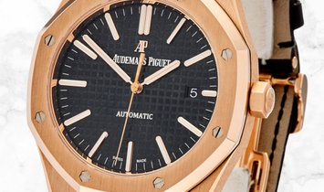 Audemars Piguet 15400OR.OO.D002CR.01 Royal Oak 18K Rose Gold Black Dial