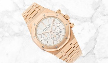 Audemars Piguet 26320OR.OO.1220OR.02 Royal Oak Chronograph 18K Rose Gold Silver Toned Dial