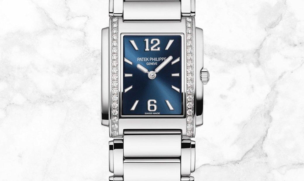 Patek Philippe Twenty - 4  4910/1200A  Quartz Stainless Steel Blue Sunburst Dial Diamond Set Case