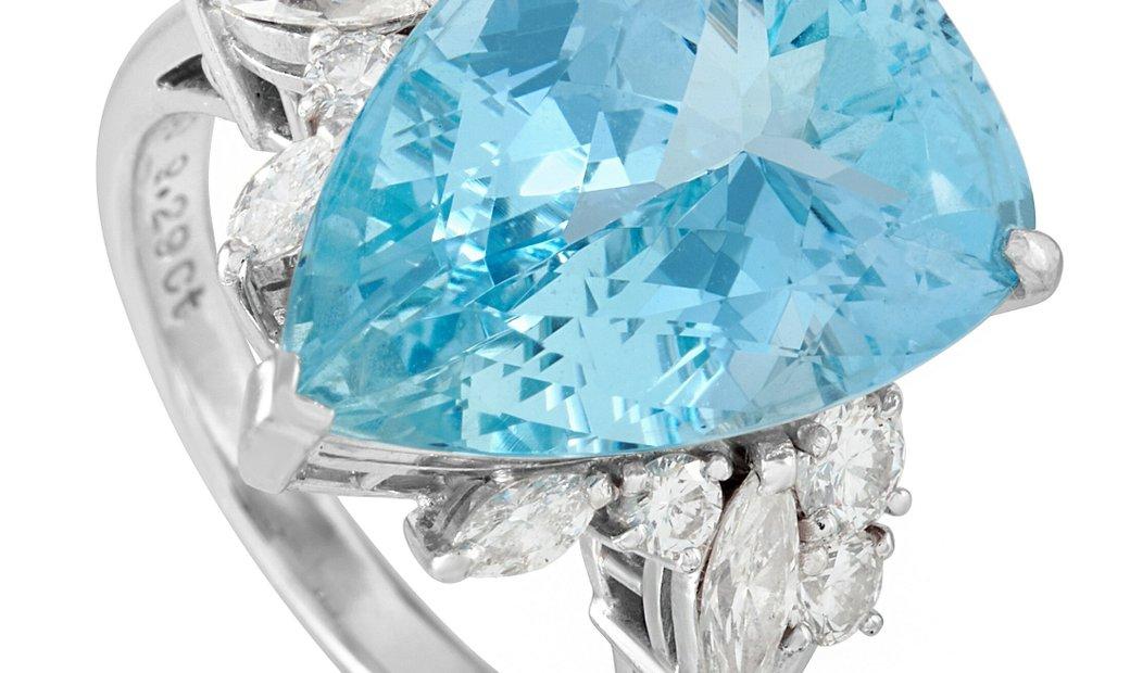 Mikimoto Mikimoto Platinum 0.77 ct Diamond and Aquamarine Ring