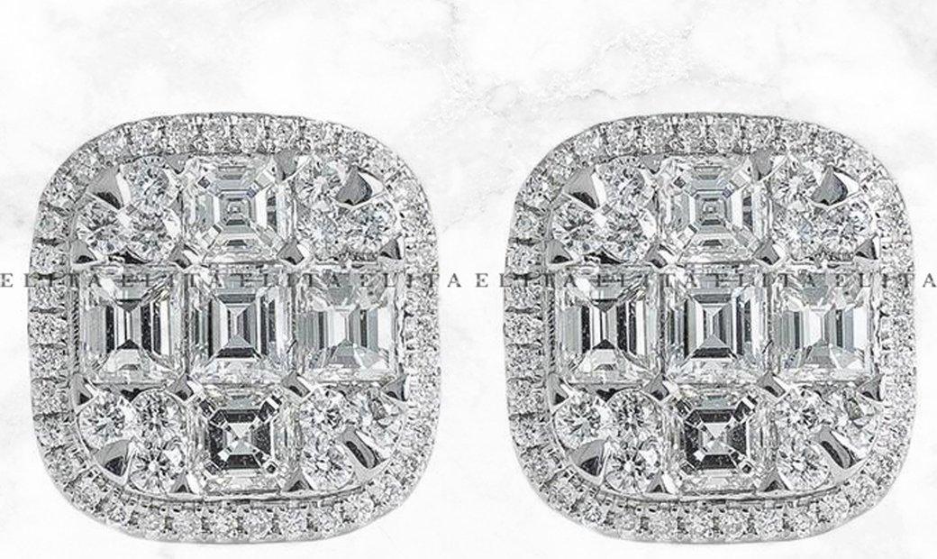 Emerald Cut Diamond Earrings