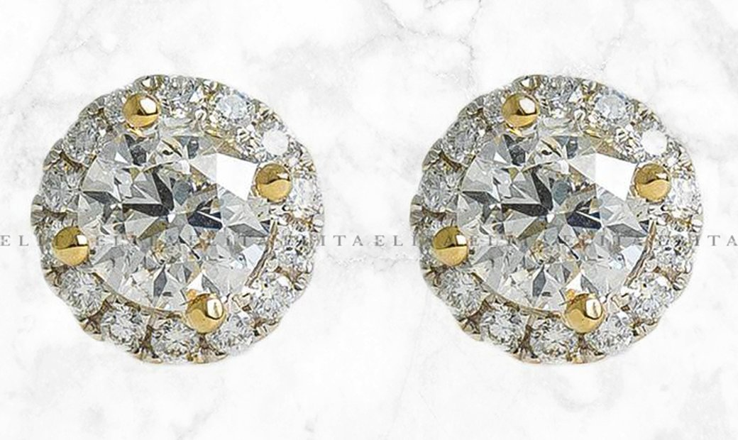 Solitaire Halo Diamond Earrings