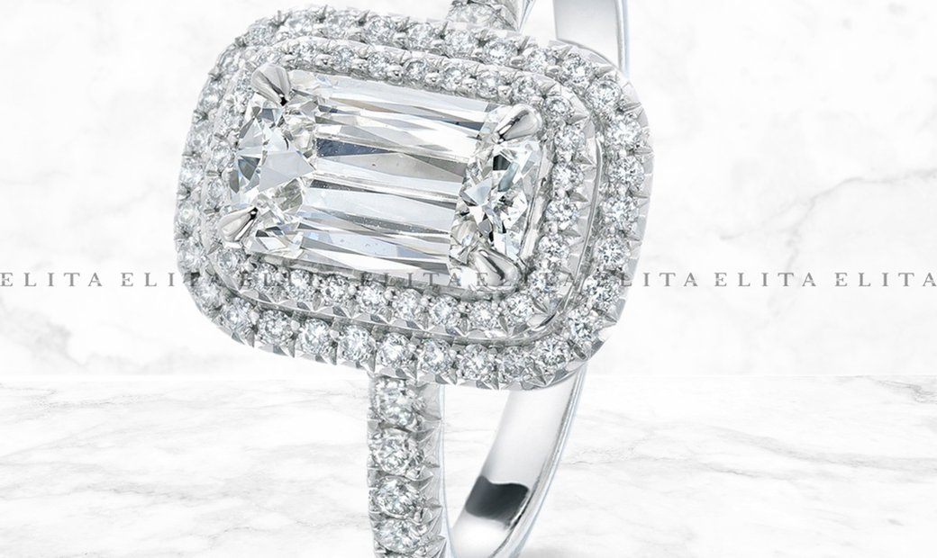 Double Halo Emerald Cut Diamond Ring