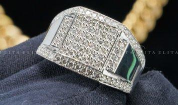9K White Gold Signet Ring