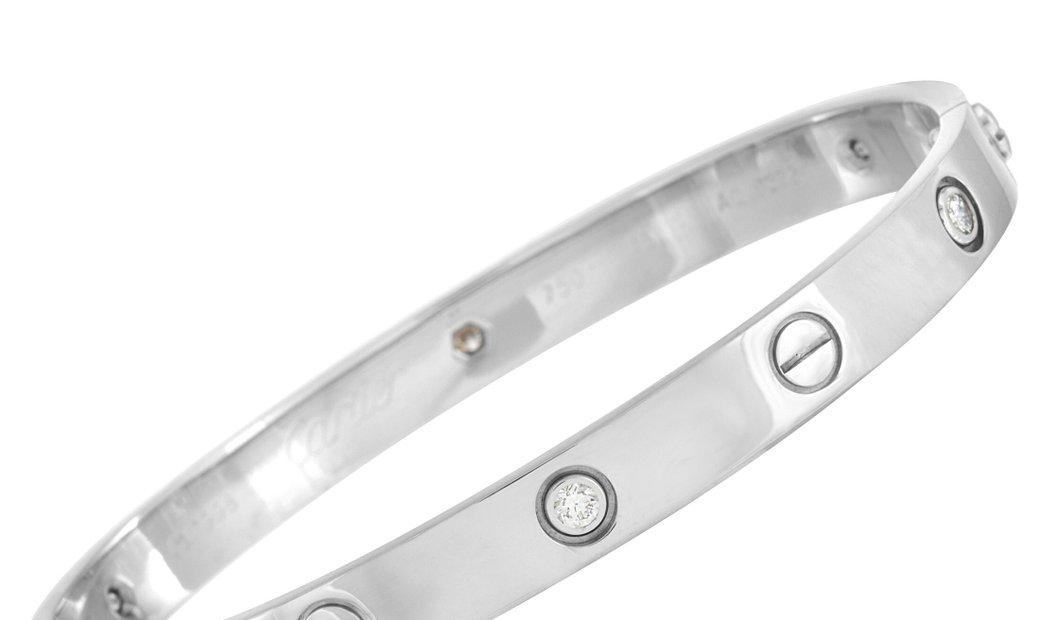 Cartier Cartier LOVE 18K White Gold 6 Diamond Bracelet with Screwdriver Size 18