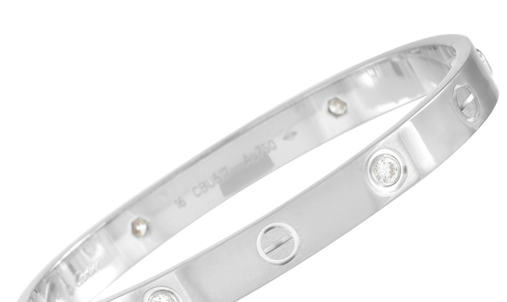 Cartier Cartier LOVE 18K White Gold 4 Diamond Bracelet Size 16