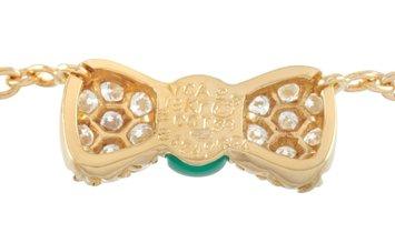 Van Cleef & Arpels Van Cleef & Arpels 18K Yellow Gold 0.39 ct Diamond and Chrysoprase Pendant Neckla