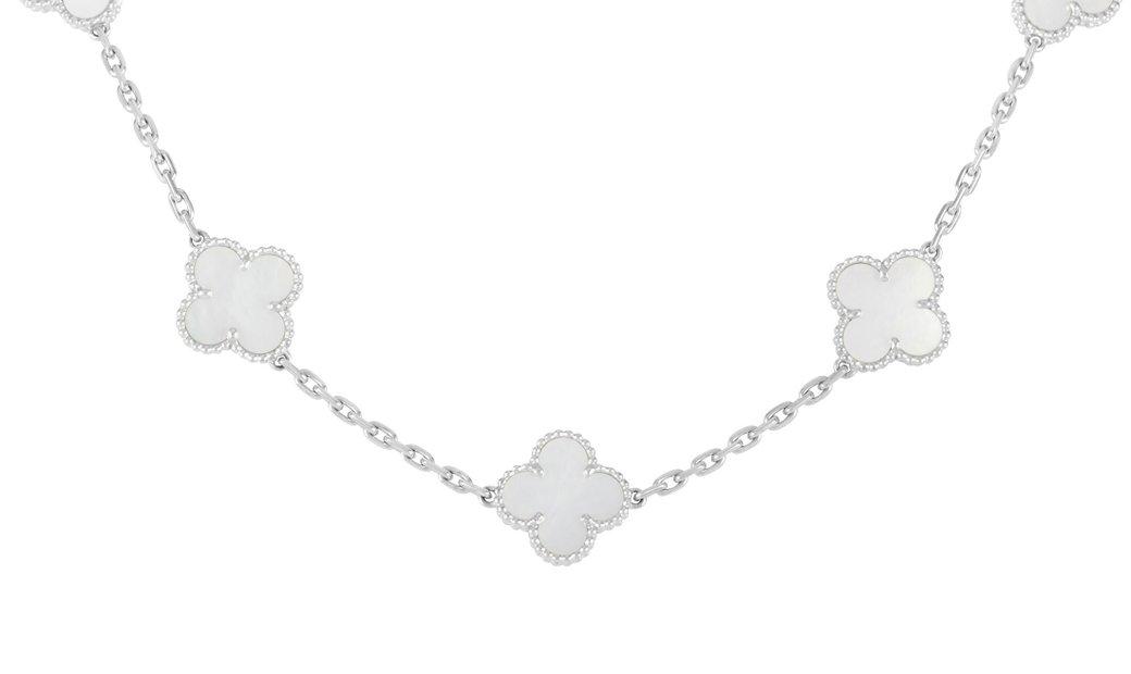 Van Cleef & Arpels Van Cleef & Arpels Vintage Alhambra 18K White Gold Mother of Pearl 10 Motif Neckl