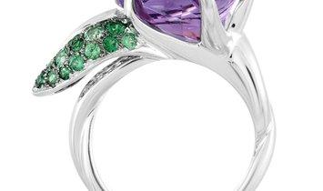 Chanel Chanel 18K White Gold Amethyst and Tsavorite Large Flower Ring