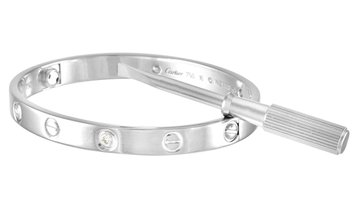 Cartier Cartier LOVE 18K White Gold 4 Diamond Bracelet with Screwdriver Size 16