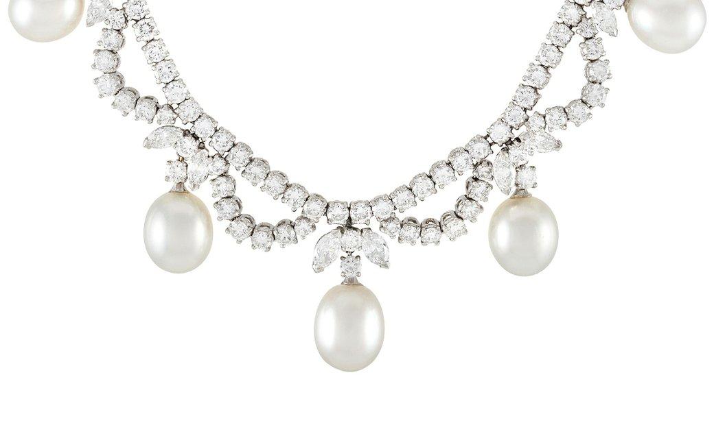Garrard Garrard Platinum 14.50 ct Diamond and Pearl Necklace