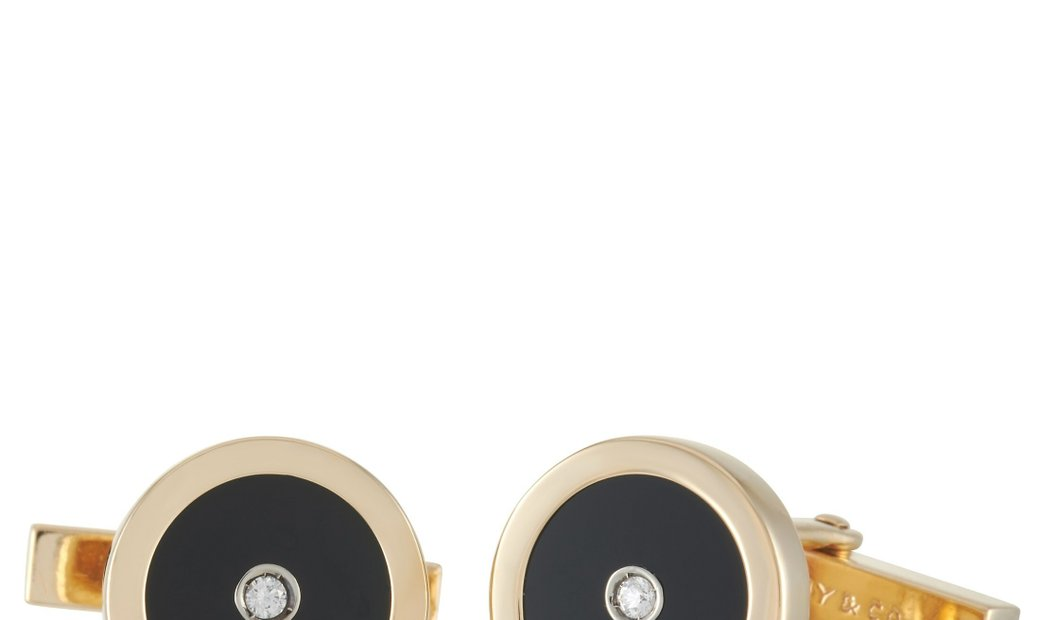Tiffany & Co. Tiffany & Co. 18K Yellow Gold Diamond and Onyx Cufflinks