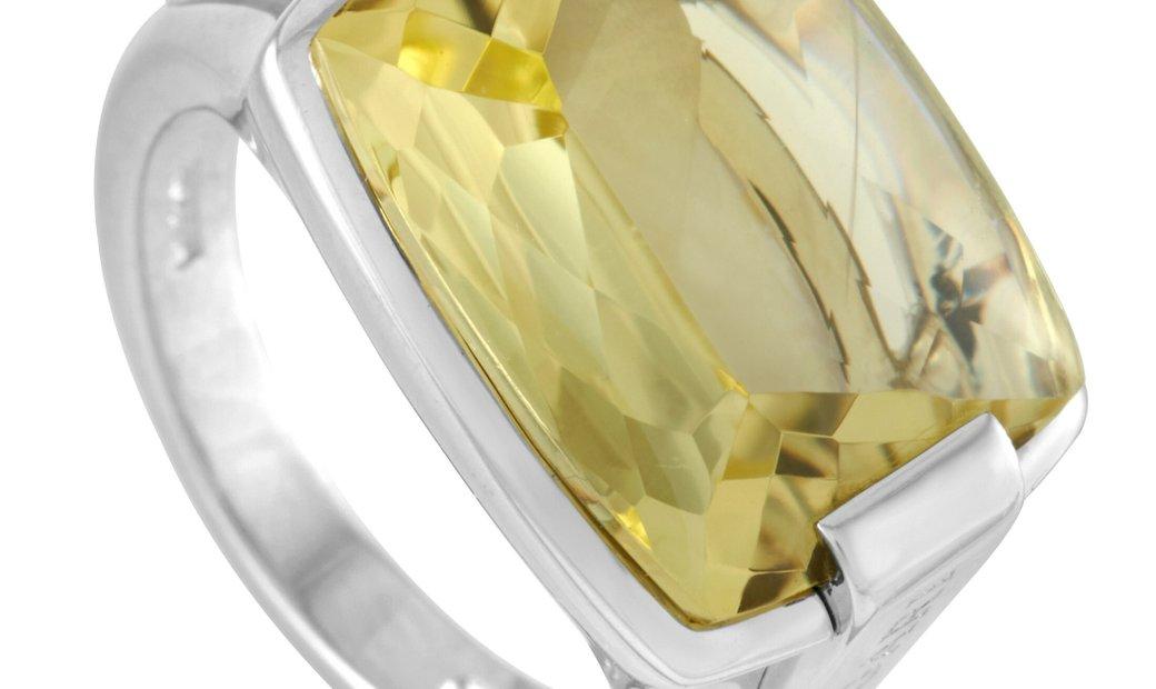Bvlgari Bvlgari 18K White Gold Lemon Citrine Ring