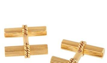 Boucheron Boucheron Vintage 18K Yellow Gold Sapphire Cufflinks and Tie Bar Set