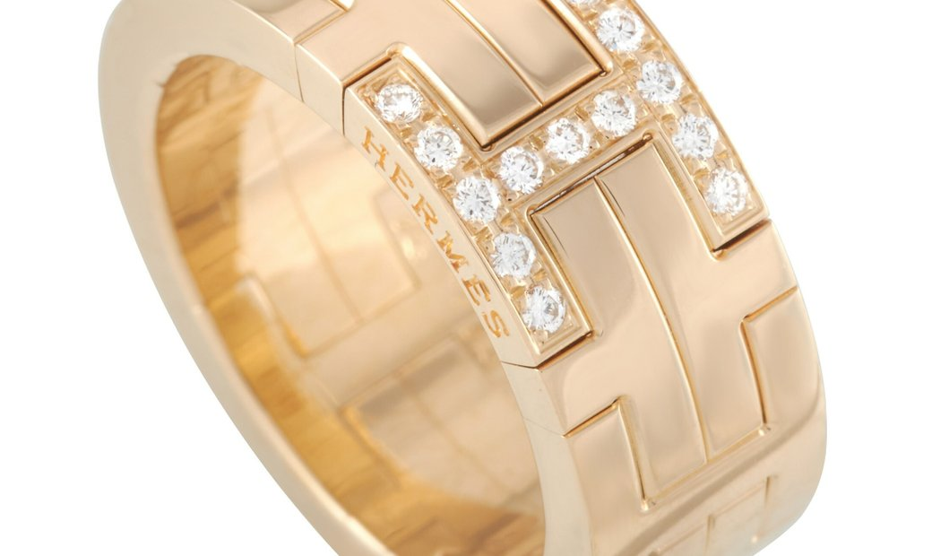 Hermès Hermès 18K Yellow Gold Diamond H Motif Ring
