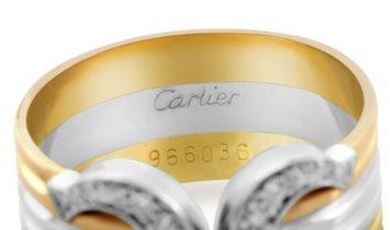 Cartier Cartier C de Cartier 18K Tri-Gold Diamond Band Ring