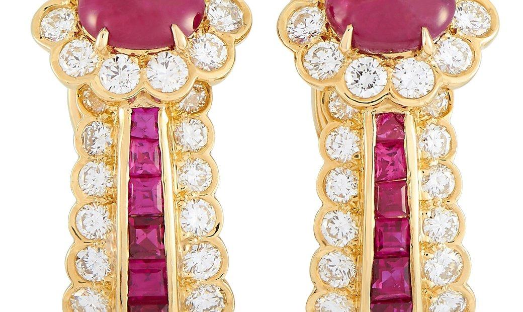 Van Cleef & Arpels Van Cleef & Arpels Vintage 18K Yellow Gold 1.50 ct Diamond and Ruby Earrings