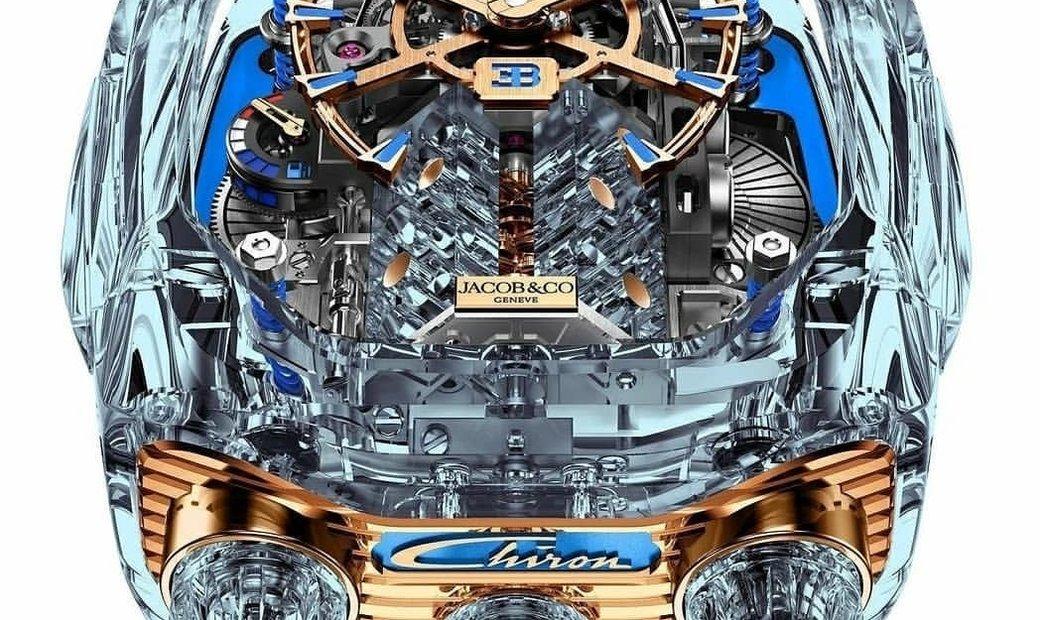 Jacob & Co. 捷克豹 [NEW] Bugatti Chiron Sapphire 16 Cylinder Piston Engine Tourbillon