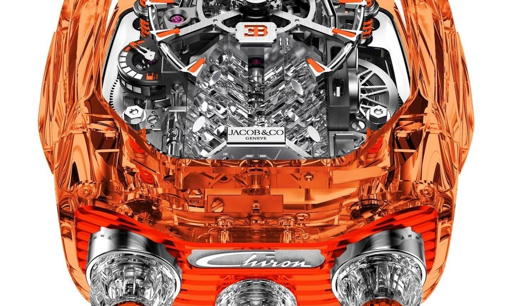 Jacob & Co. 捷克豹 [NEW] Bugatti Chiron Orange Sapphire 16 Sapphire Cylinder Piston Engine Tourbillon