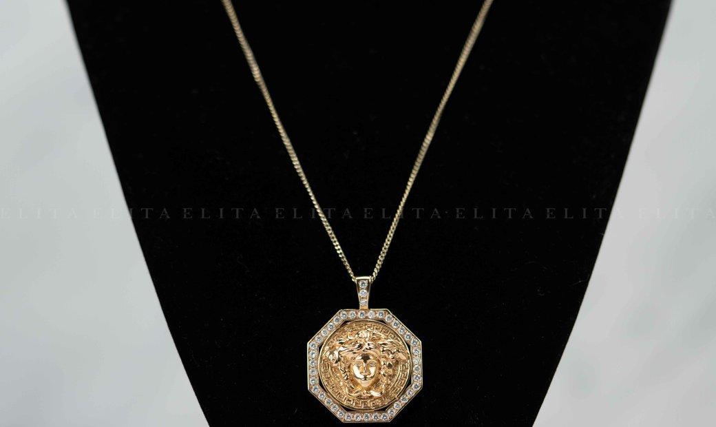14kt Rose Gold Versace Medusa Diamond Pendant And Chain