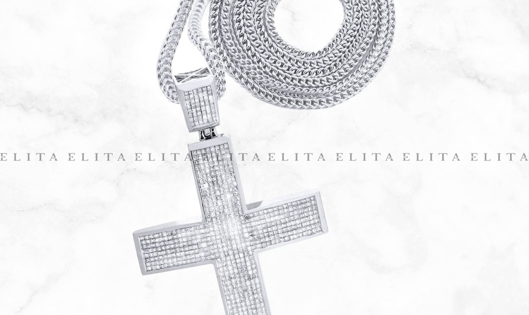 18K White Gold Cross Diamond Pendant and Franco Chain 18.92 Ct
