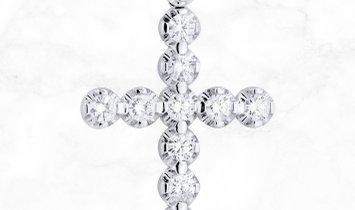18 K White Gold Diamond Cross Pendant & Cuban Chain 2.34 Ct