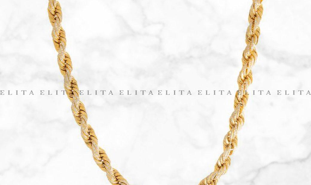 14K Yellow Gold and Diamond Rope Chain