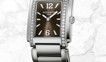 Patek Philippe Twenty 4 4910-1200A-010 Quartz Stainless Steel Sunburst Grey Dial Diamond Set Case