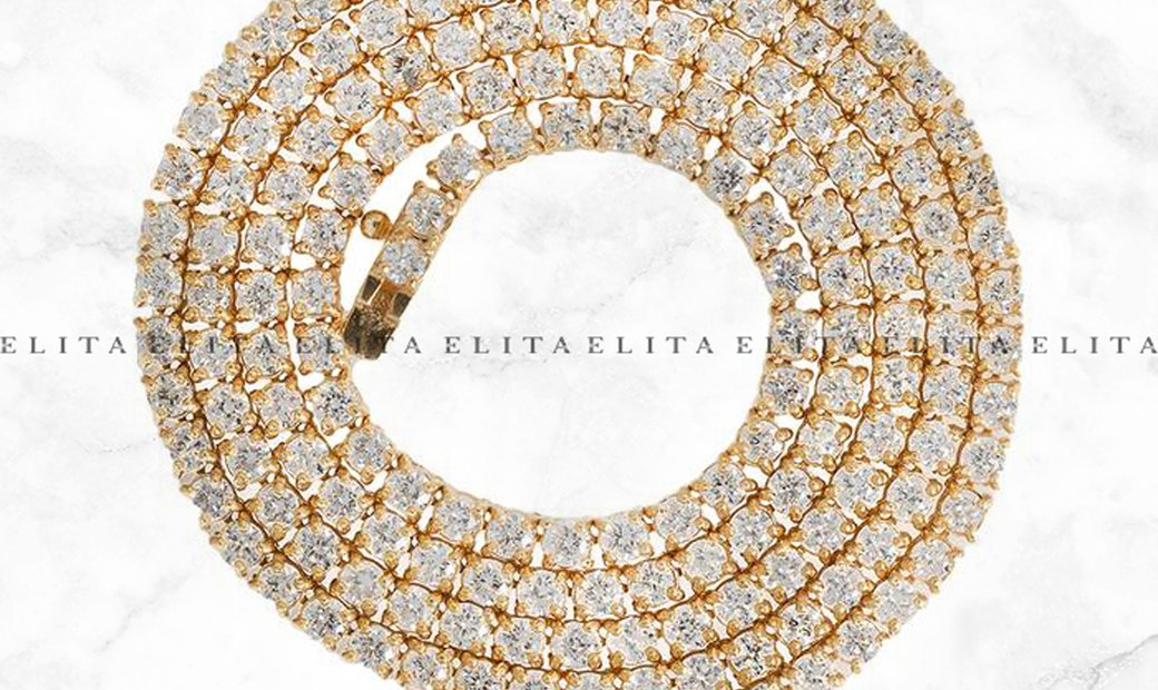 14K Tennis Chain with Round Cut Diamonds