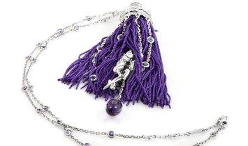 Boucheron Boucheron 18K White Gold Diamond, Sapphire, and Amethyst Purple Fringe Secret Pendant Neck