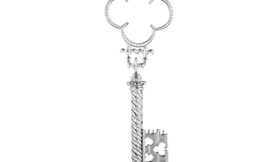 Prince Dimitri Prince Dimitri Platinum Diamond Large Key Pendant Necklace