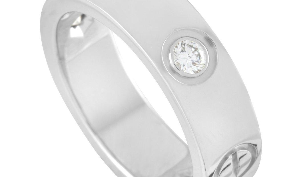 Cartier Cartier LOVE 18K White Gold 3 Diamond Band Ring