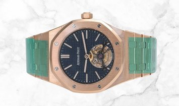 Audemars Piguet 26510OR.OO.1220OR.01 Royal Oak Tourbillon Extra-Thin 18K Rose Gold Blue Dial